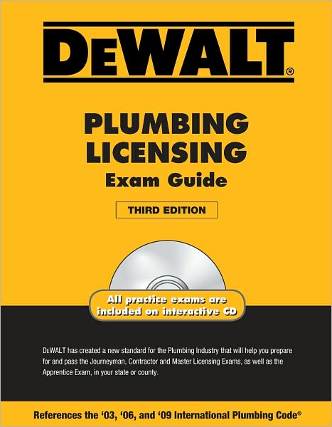 When you need to pass an apprentice, journeyman, contractor, or master licensing plumbing exam, the DEWALT PLUMBING LICENSING GUIDE, 3E is a great resource. This latest edition uses the same powerful formula that made previous editions so successful - an interactive CD that simulates actual exams and comprehensive content that contains over 500 practice questions. It also includes test-taking strategies, exam rules, as well as answer keys so you can get immediate feedback as you test your knowledge of the guide's key topics. Now updated to reflect the 2009 International Plumbing Code, you can expect a more current, more effective exam preparation than ever before.