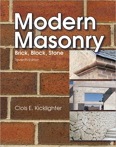 Simply and clearly written, Modern Masonry provides students with a solid understanding of the safe and proper methods of laying brick, block, and stone. Also receiving thorough coverage is concrete construction, including both formed construction and flatwork. This thoroughly illustrated full-color text provides students with a broad understanding of materials, their properties, and their applications. A detailed glossary and an extensive reference section will be highly useful to students as they acquire masonry skills.